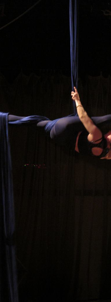 """Me on Big Bleu, a silks piece for the 2012 movie-themed """"Aerial Theatre 3000."""" This was a tribute to a trilogy of  French films from the early 1990s, """"Trois Colours,"""" performed with Annette Byrd and Allyson Mann"""