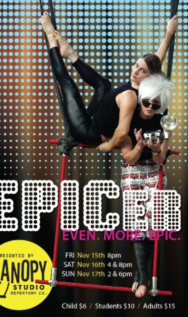 """Show poster for Epic-er (the sequel to """"Epic,"""" of course) with me as Edie Sedgwick and Rabun Dekle as Andy Warhol.  We used an awesome mashup of David Bowie songs, of which """"Andy Warhol"""" was a central song/theme. 2012, photo by Melissa Roberts and poster design by Murray Cappelmann at mPrint Design Studio."""