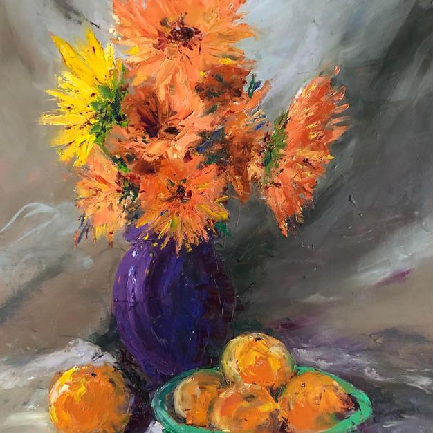 Orange Dahlias in Purple