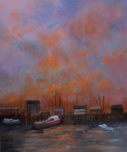Guidess_Fire Sky on the Wharf _24x20    Oil    $475