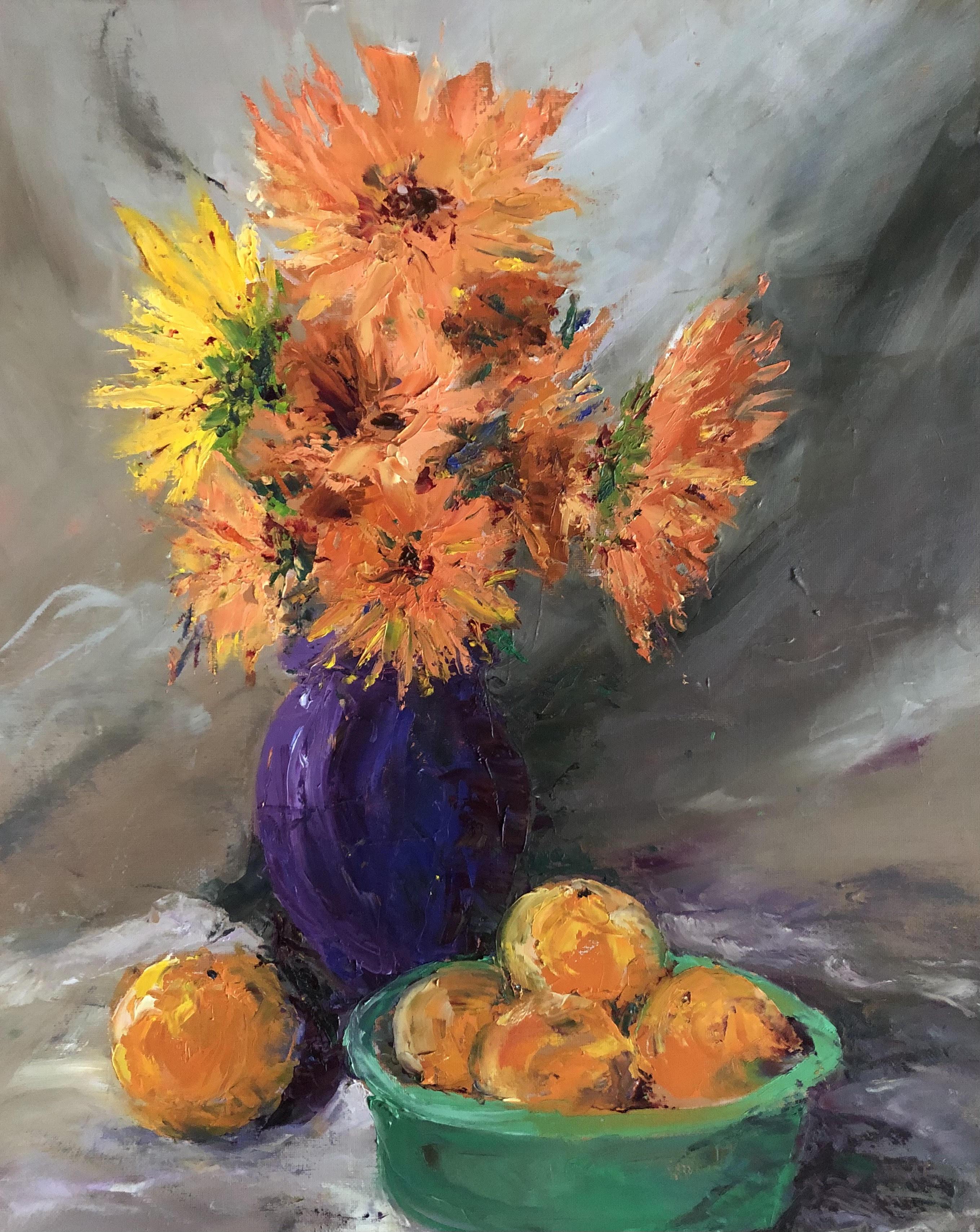 Orange Dahlias in Purple_Darcy