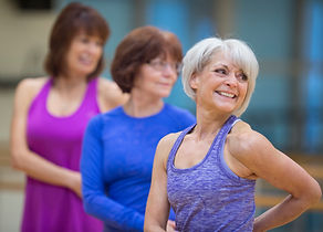 Women in over 60s keep fit aerobics class