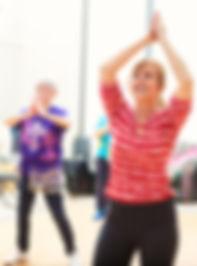 Women in older adults' 60 plus keep fit aerobics class