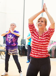 Women in older adults' 60 plus keep fit aerobics class