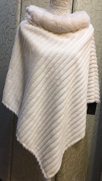 Winter White Velvet Fur Poncho