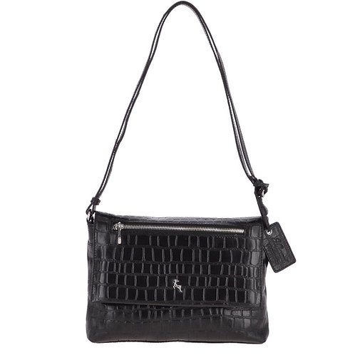 Black Crocodile Print Cross Body Bag
