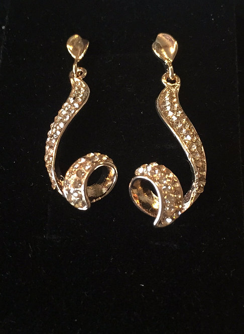 Gold Drop Diamanté Earring
