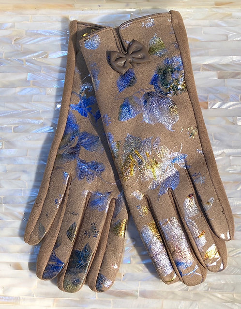 Brown Gloves with Metallic Print
