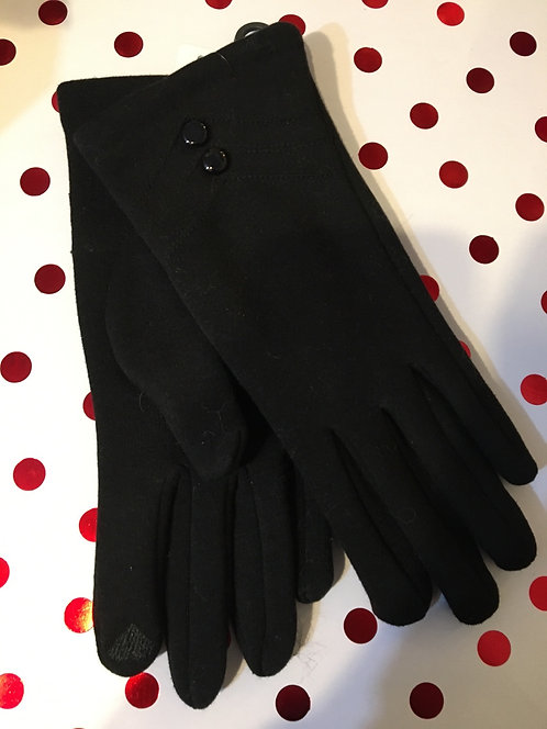 Stretch knot gloves with 2 buttons