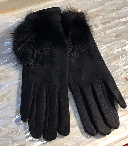 Black suede Gloves with fur Pom Pom