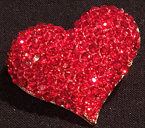 Red Diamante Heart Brooch or Scarf Pin