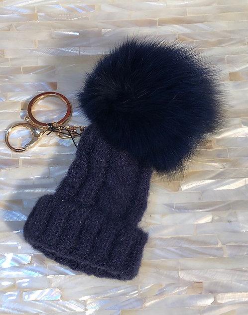 Blue Bobble Hat Handbag/Keyring