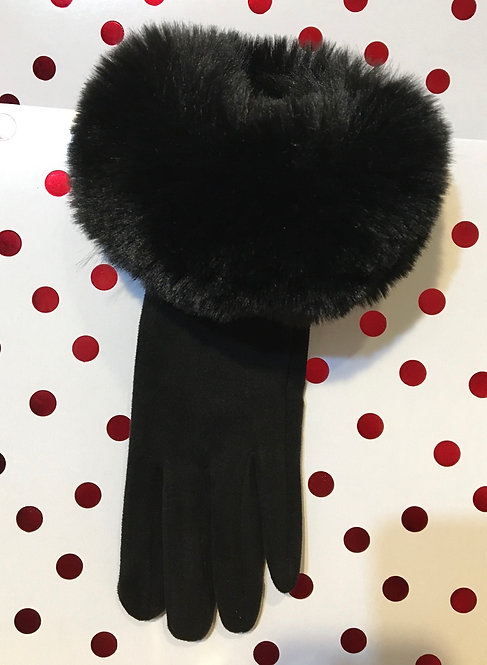 Black Faux Fur Cuff Gloves