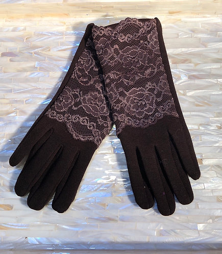 Brown Gloves with Lace Detail