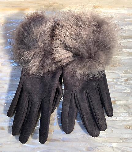 Grey Fabric Gloves with faux fur Pom Pom