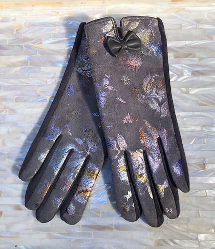 Grey Gloves with Metallic Print