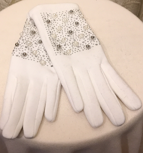 Pearl and Diamanté Gloves