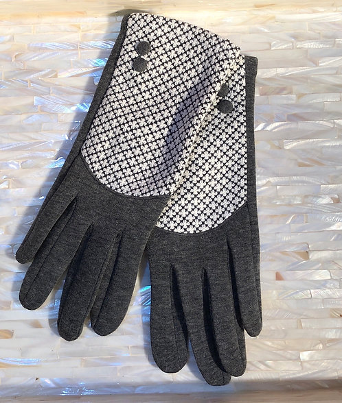 Grey and White Gloves
