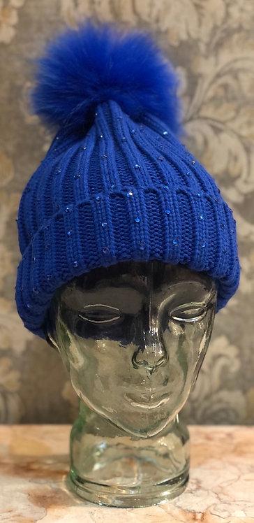 Blue Hat with Blue Diamanté and Blue Fur Pom Pom