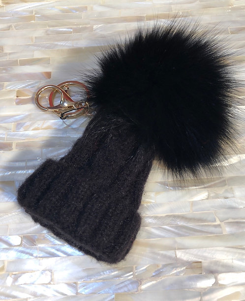 Black Bobble Hat Keyring/ Handbag charm