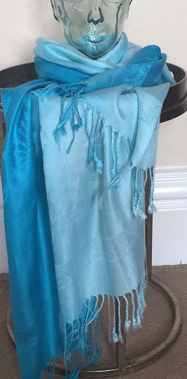 Pale to bright turquoise scarf/wrap/sarong