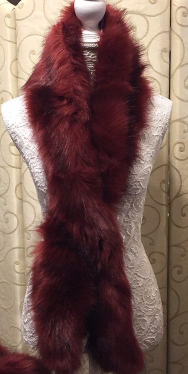 Red Faux Fur Scarf and Cuffs