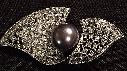 Curl and Pearl Brooch or Scarf Pin