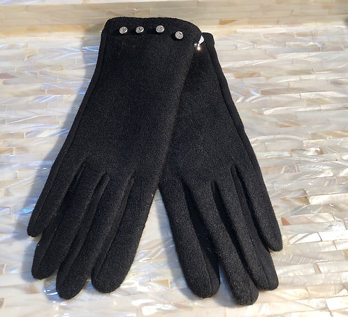 Black Gloves with stud trim