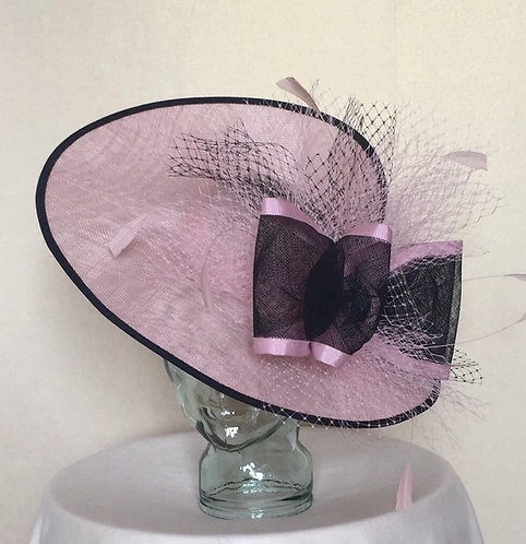Pink and Black Fascinator