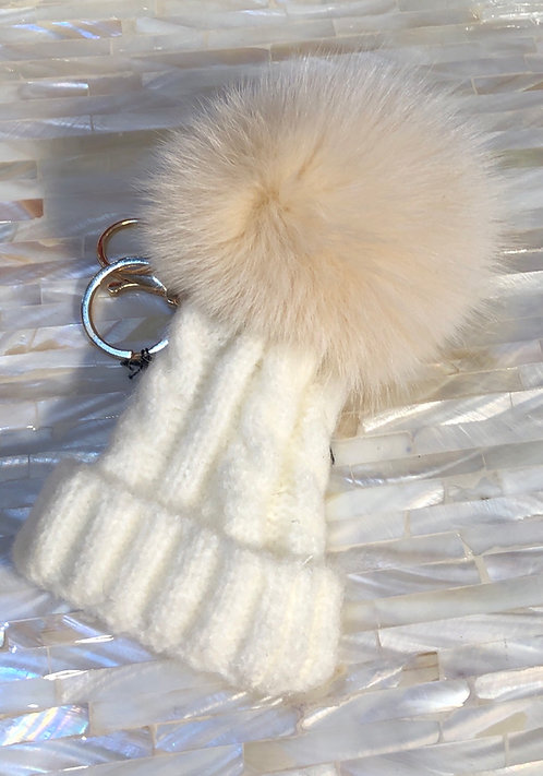 White Bobble Hat keyring/ Handbag charm