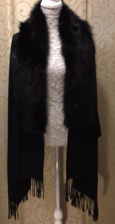 Shawl with Faux Fur Collar