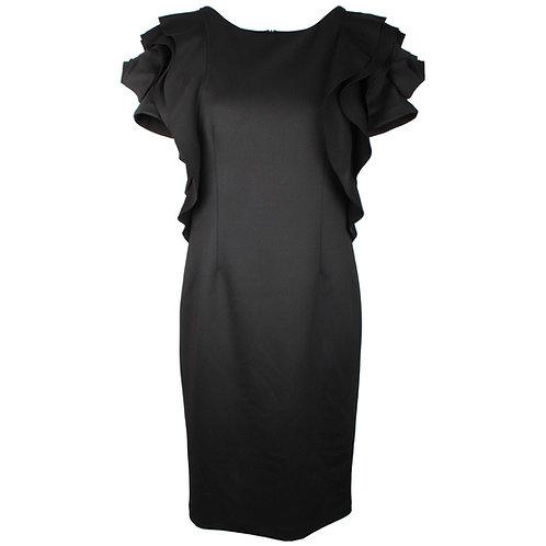 Frank Lyman black dress with rose sleeve detail