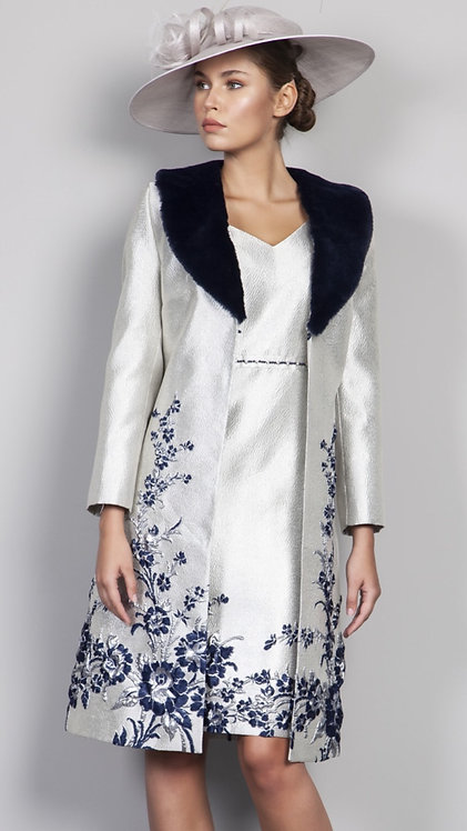 Lizabella Silver and Navy dress and coat