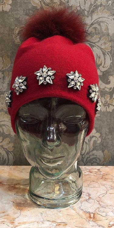 Red Embellished Hat with Fur Pom Pom