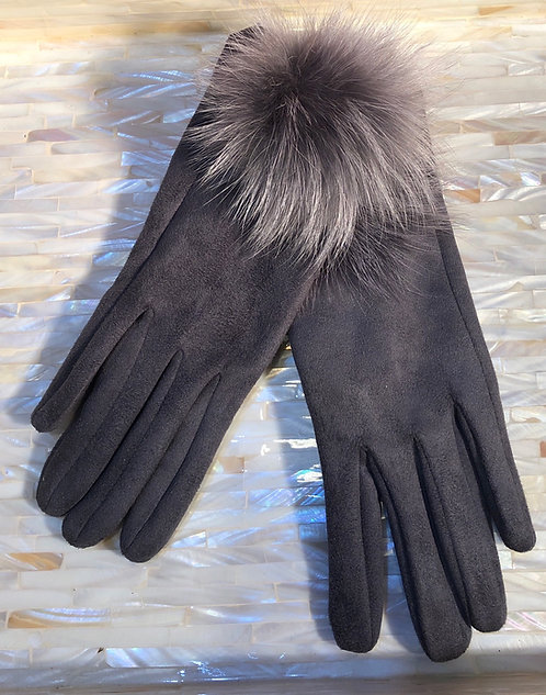 Grey Suede Gloves with Fur Pom Pom
