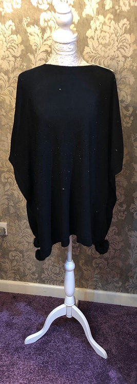 Black Poncho with Stones