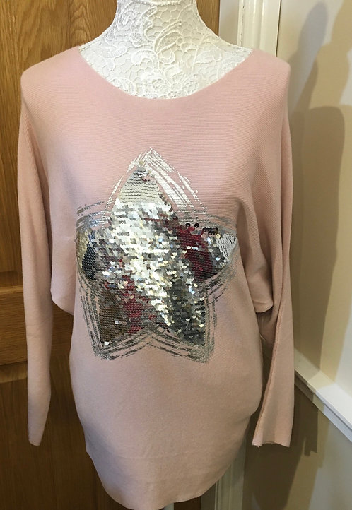 Pink Jumper with silver sequin heart
