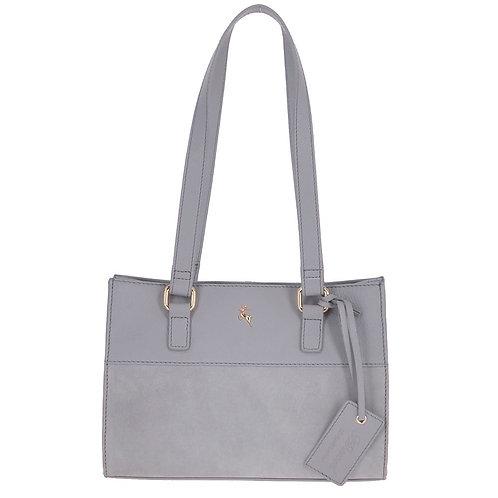 Grey Leather and Suede Handbag