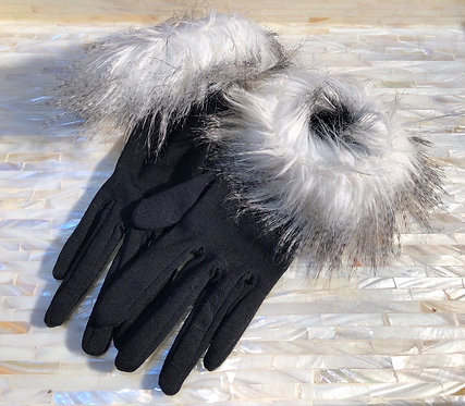 Black Fabric Gloves with Faux Fur Cuffs