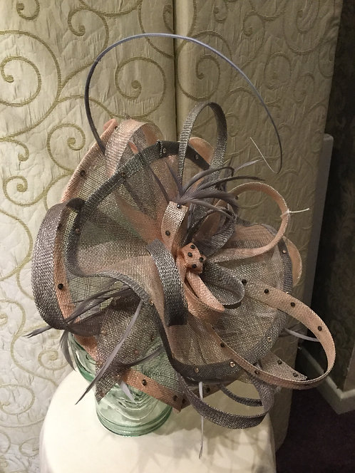 Silver Grey and Peach Fascinator