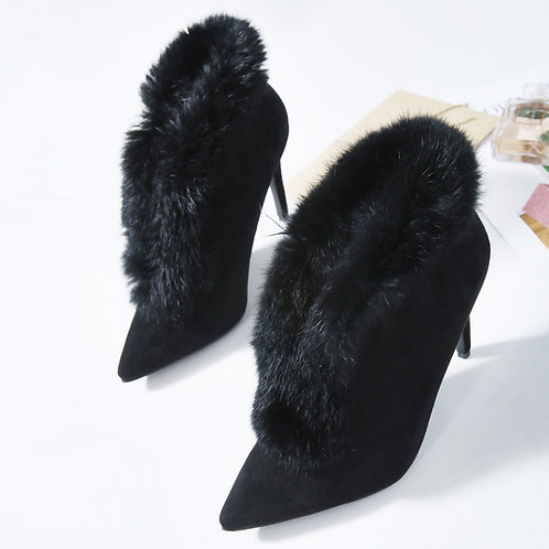 Black Suede Fur Trim Boots