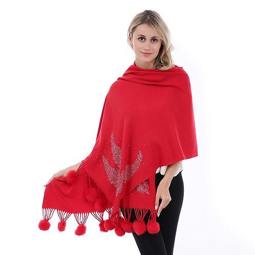 Red Pom Pom Shawl