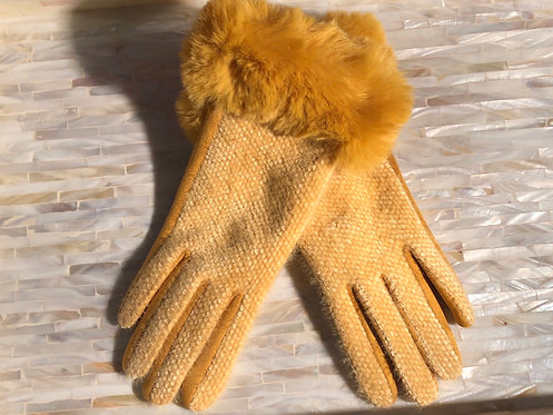 Mustard Gloves with Faux Fur Cuff