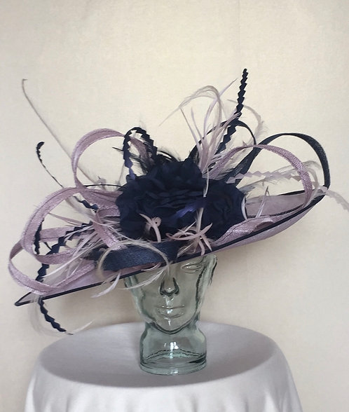 Lilac and Navy Fascinator