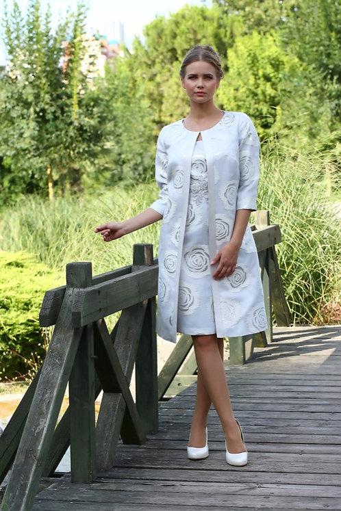 Lizabella Dress Silver Dress and Coat