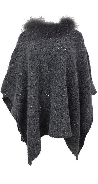 Grey knitted poncho