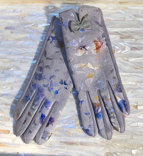 Light Grey Gloves with Metallic Print