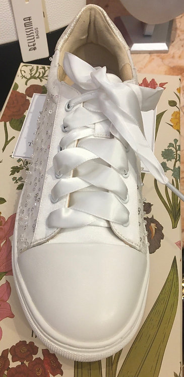 Ivory satin and sequin trainer