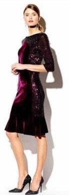 Plum velvet and sequin dress