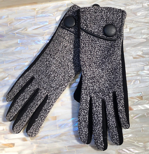 Black Fabric Gloves with Black and White Weave